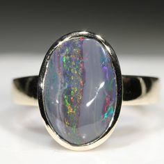 Natural Australian Black Opal Gold Ring  - Size 8.75 Code - RL48 Black Opal Ring, 10k Gold Ring, Yellow Gold Rings, Red Gold, Opal Rings, Gemstone Rings, Australian Black Opal, Gold Ring Designs, Opal Color