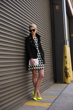 Geometric patterned dress with neon pumps - work clothes