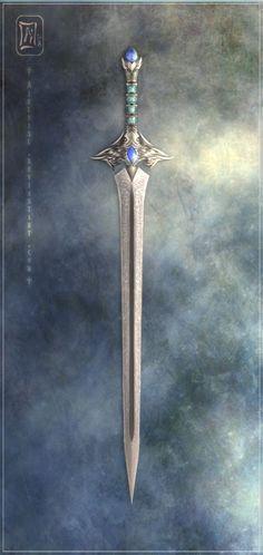 Sword by Aikurisu Fantasy Blade, Fantasy Sword, Fantasy Armor, Fantasy Weapons, Medieval Fantasy, Swords And Daggers, Knives And Swords, Armas Ninja, Cool Swords