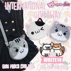 Hi sweeties,  White Day is coming soon, hope you have a romantic moment ❤ Use code #white14 for 14$ off on 100$.  Besides, new weekly giveaway up now, prize is one neko bag! How to win: 1.Follow @spreepicky and @cospicky on Pinterest 2.Like and repin and tag 3 friends with comment what color do you like 3.Enter: http://goo.gl/sxhKOV (white day story included) 4.2 winners pick from above rafflecopter Good luck everyone ^_^