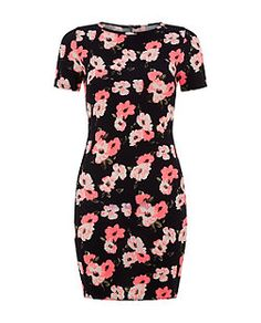 Teens Blue Neon Floral Print Bodycon Dress  | New Look
