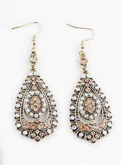 Pink Gemstone Retro Gold Drop Dangle Earrings
