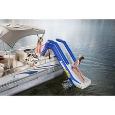 Aquaglide Freefall Inflatbale Pontoon And Dock Slide | Yellow/White/Blue 58-5213006 #houseboataccessories Pontoon Dock, Pontoon Stuff, Pontoon Party, Pontoon Boats, Boat Dock, Wooden Speed Boats, Fishing Boats For Sale, Fishing For Beginners, Boat Insurance