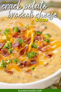 Slow Cooker Crack Potato and Broccoli Cheese Soup - this soup should come with a warning label! SO good! LOADED with cheddar, bacon and ranch!! Everyone went back for seconds! Potatoes, cream of broccoli cheese soup, broccoli, cream cheese, chicken broth, cheddar, bacon and ranch. So simple to make. Just dump everything in the slow cooker and dinner is done! #crockpot #slowcooker #bacon #soup #broccolicheese #potatoes Brocolli Cheddar Soup, Broccoli Potato Cheese Soup, Cheddar Soup Recipe, Bacon Soup, Baked Potato Soup, Chicken Broccoli Soup, Crockpot Recipes, Soup Recipes, Cooking Recipes