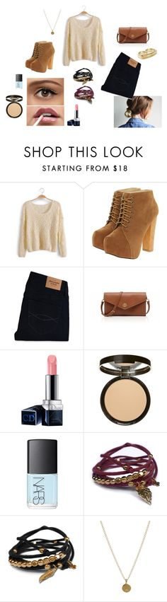 """""""outfit #1"""" by shantifienness ❤ liked on Polyvore featuring Abercrombie & Fitch, Tory Burch, Christian Dior, NARS Cosmetics, Gag & Lou, Dogeared, Nelly Accessories, skinny jeans, platform heels and gold"""
