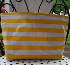 Beth s large yellow stripes oilcloth cosmetic bag