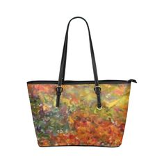 Colorist Wash of flowers 2 Leather Tote Bag/Large (Model 1651)