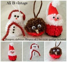 CHRISTMAS POMPOM HANGING SANTA, SNOWMAN AND ROBIN (3) - The Supermums Craft Fair: