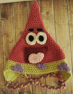 Ravelry: Patrick Star Hat pattern by Jamie Huisman - free Crochet Kids Hats, Crochet Beanie Hat, Crochet Cap, Love Crochet, Diy Crochet, Crochet Crafts, Yarn Crafts, Crochet Projects, Knitted Hats