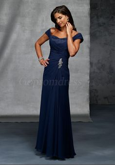 Navy Chiffon A-line Off-The-Shoulder long Applique Mother of the Bride Dress picture 1