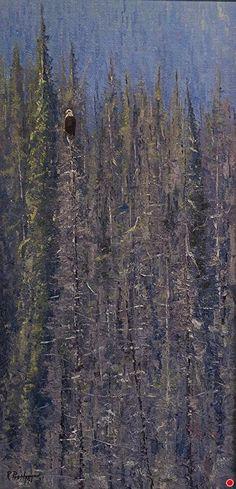 Alberta Lake Eagle by Richard Prather Oil ~ 20 x 10