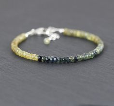 Blue Yellow & Green Ombre Sapphire by EllaArtisanJewellery on Etsy