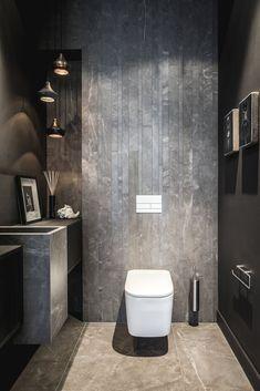 65 Inspirational Ideas To Design A Guest Toilet - DigsDigs Dark Bathrooms, Modern Bathroom, Small Bathroom, White Bathroom, Bathroom Ideas, Grey Toilet, Small Toilet, Bad Inspiration, Bathroom Inspiration
