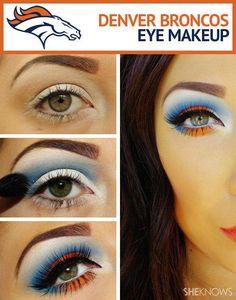 Denver Broncos eye makeup tutorial