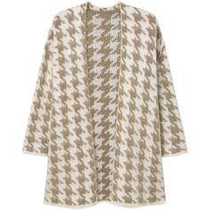 MANGO Houndstooth Cardigan (2.435 RUB) ❤ liked on Polyvore featuring tops, cardigans, mango tops, long sleeve tops, long sleeve cardigan, mango cardigan and brown cardigan