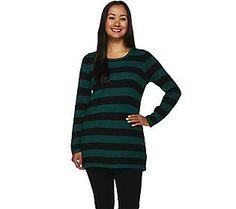 Susan Graver Striped Cotton Rayon Nylon Button Back Sweater