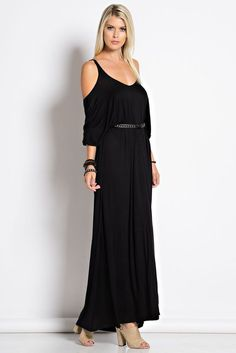 Women Criss Cross Cold Shoulder Semi Open Back Maxi Long Dress