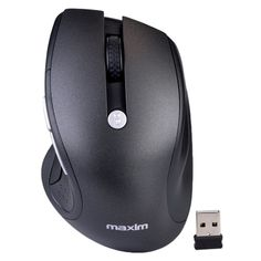 Maxim MX-M2020 5-Button 2.4GHz Wireless Optical Scroll Mouse w/1750 max dpi & Nano USB Receiver (Black/Silver)