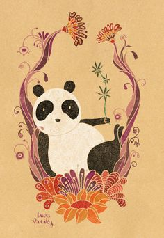Panda Bear Illustration @Lau Varsky.