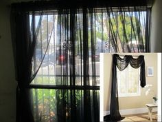 "SHEER / SCARF Window Treatments Curtains Drape Valances 63"" 84"" 95""  BLACK Valances, Drapes Curtains, Window Treatments, Decorating Ideas, Prom, Windows, Black And White, Bedroom, Home Decor"