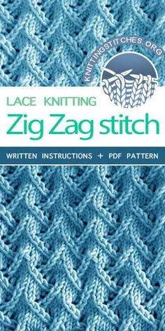 KnittingStitches.org -- Learn to knit Zig Zag Lace | Knitting Stitch Patterns. Very easy pattern to follow and fun too #knitters #knitlace #knitstitchpatterns