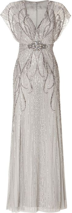 Jenny Packham Sequin Embellished Gown in Platinum on shopstyle.com
