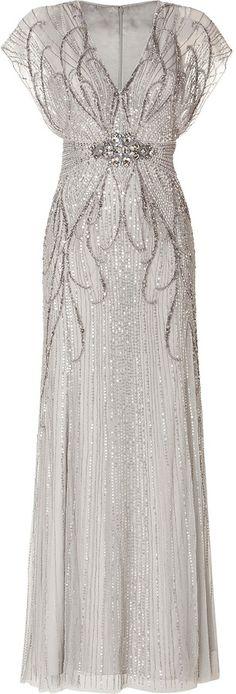 CESPINS ❤Jenny Packham Sequin Embellished Gown in Platinum 2013