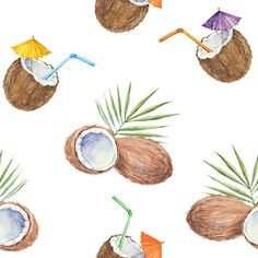 Image result for coconut cocktail watercolor