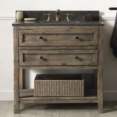 Legion Furniture 36 Inch Sink Vanity with Two Drawers, Slat Bottom Shelf, Moon Stone Top and White Ceramic Sink in Brown Rustic Finish Girls Bathroom, Bathroom Vanity Units, Bathroom Furniture, Vanity Set, Legion Furniture, Kitchen Bath Collection, Home Decor, Single Bathroom Vanity, Furniture