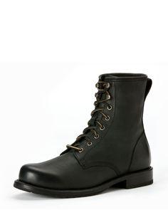 Frye Wayde Leather Combat Boot, Black