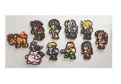 Final Fantasy 7, Perler Bead Art, fridge magnets, FF7 8 bit pixels, Cloud, Tifa, Barrett, Aeris, Vincent, Yuffie, Cait Sith, Sephiroth, Red