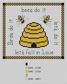 free cross stitch pattern - I like the bees & the hive, not so much the words...