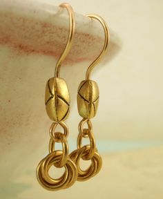 Little Cuties Earrings in BRASS - The Sweeter Side of Chainmaille - LAST One. $12.00, via Etsy.