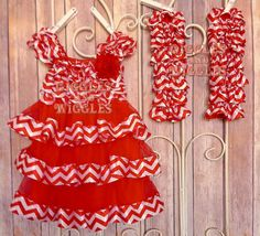 Christmas SET, Red and White Chevron dress with matching leg warmers, christmas dress, christmas pictures, baby girl, toddler girl, photo
