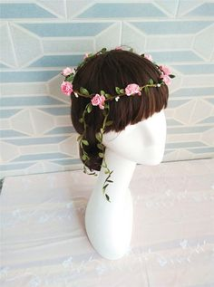 Hey, I found this really awesome Etsy listing at https://www.etsy.com/listing/216266632/pink-rose-flower-crown-flower-crown