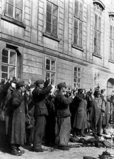Remnants of the German Army in Prague surrendering to the Allies. (Photo by Keystone/Getty Images). May 1945