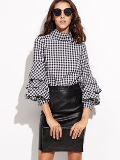 Material: 100% Cotton Color: Black and White Pattern Type: Plaid Collar: High Neck Style: Cute, Work, Elegant Type: Tunic Decoration: Ruffle Sleeve Length: Three Quarter Length Fabric: Fabric has no stretch Season: Spring, Fall Shoulder(Cm): XS:37cm, S:38cm, M:39cm, L:40cm Bust(Cm): XS:91cm, S:95cm, M:99cm, L:103cm Length(Cm): XS:64cm, S:65cm, M:66cm, L:67cm Sleeve Length(Cm): XS:51cm, S:52cm, M:53cm, L:54cm Bicept Length(Cm): XS:30cm, S:31cm, M:32cm, L:33cm Cuff(Cm): XS:22cm, S:23cm…