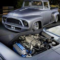 #trucks #lifted Custom Pickup Trucks, Old Ford Trucks, Old Pickup Trucks, Big Trucks, Cars And Trucks, Pickup Camper, Car Ford, Ford Gt, 1956 Ford F100
