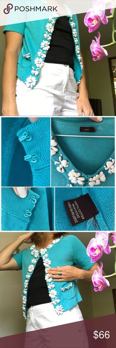 Escio 50's cotton cardigan Vintage beaded sweater Blue Teal with chunky white hearts and flowers beading around the edges. Beautiful and unique as well as still in excellent condition for its age. Size medium. Wear with a solid tank or dress underneath. Perfect summer Sweater. Escio Sweaters Cardigans