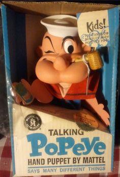 MATTEL: 1967 Popeye Talking Hand Puppet #Vintage #Toys