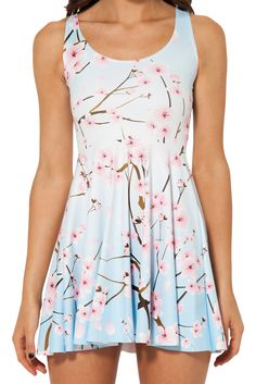 Cherry Blossom Blue Reversible Skater Dress #18