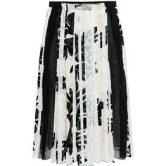 O 2nd - Mono Flower Pleated Skirt (£200) ❤ liked on Polyvore featuring skirts, see through skirt, floral printed skirt, sheer skirt, flower print skirt and pleated skirt