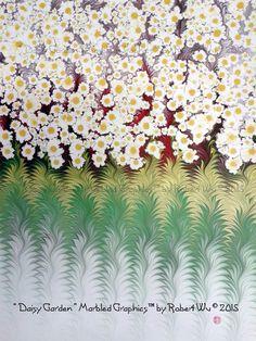 Daisy Garden - Original Marbled Graphics™ by Robert Wu, Hand Marbled Paper, Marbling Ebru Art Ebru Art, Reflection Photos, Turkish Art, Marble Art, Colour Images, Bookbinding, Ancient Art, Traditional Art, Unique Art