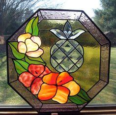 Lahaina Makai Stained Glass pineapple hibiscus by TreasuresOfLight, $250.00