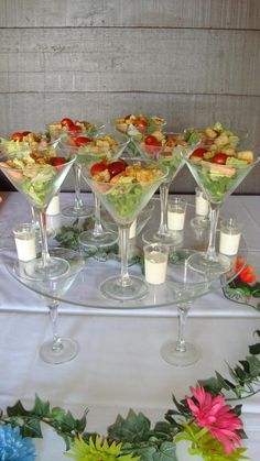Appetizer Salad How fun is this! Great for an Origami Owl jewelry bar party… Party Salads, Appetizer Salads, Party Snacks, Appetizers For Party, Appetizer Recipes, Salad Bar Party, Fruit Salads, Girls Night Appetizers, Shot Glass Appetizers