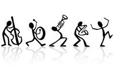 Musical Stick Figure Band – Black and White Poster on Ultra Board With Black Edging Muzikale Stick Figure Band zwart-wit poster op Ultra Dancing Drawings, Music Drawings, Cute Drawings, Poster On, Poster Prints, Pillow Drawing, Stick Figure Drawing, Wall Painting Decor, Music Crafts