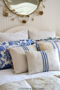 The pillows mixed with pattern for cutains on natural quilt for master bedroom - Paint Me White: French Grainsack Cushions Now In Stock French Cottage, French Country, French Blue, Blue Rooms, French Decor, White Houses, White Decor, Beautiful Bedrooms, Soft Furnishings