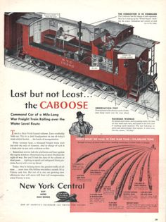 1943 New York Central train railroad print ad The Caboose cut-away view of the works