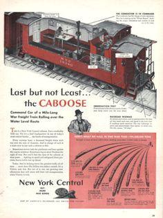 1943 New York Central train annonce imprimée de chemin de fer vue écorché le…