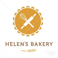 I like the circular shape and the rolling pin and whisk. I also like the font chosen. I do however think that the logo is a little overdone with the head of wheat and the circular shape. Bakery Branding, Bakery Logo Design, Logo Inspiration, Logo Boulangerie, Baking Logo, Logos, Logo Cookies, Cake Logo, Make Your Own Logo